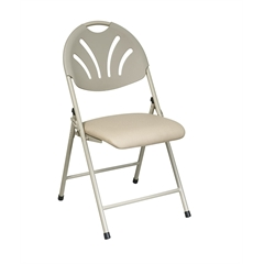 Office Star Folding Chair with Beige Plastic Fan Back and Beige Mesh Seat (4-Pack)