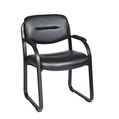 Office Star Deluxe Faux Black Leather Visitors Chair with Sled Base