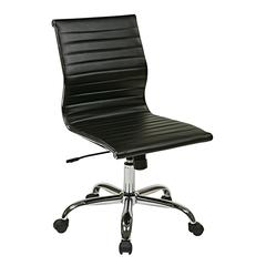 WorkSmart Thick Padded Black Faux Leather Seat and Back with Built-in Lumbar Support