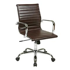 Office Star Thick Padded Espresso Faux Leather Seat and Back with Built-in Lumbar Support
