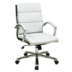 Office Star Mid Back Executive White Faux Leather Chair