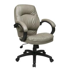 Work Smart Deluxe Smoke Faux Leather Managers Chair with Padded Arms