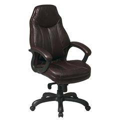 Work Smart Deluxe Oversized Executive Chocolate Faux Leather Chair with Padded Arms