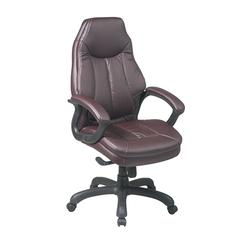 Work Smart Deluxe Oversized Executive Burgundy Faux Leather Chair with Padded Arms