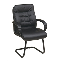 Office Star Faux Leather Visitors Chair with Padded Arms and Sled Base