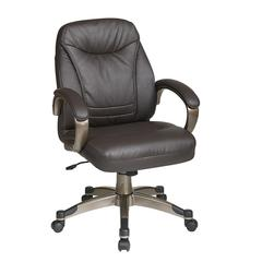 Deluxe Faux Espresso Leather Mid Back Chair with Cocoa Coated Frame and Padded Arms