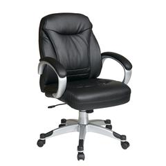 Deluxe Faux Black Leather Mid Back Chair with Silver Coated Frame and Padded Arms