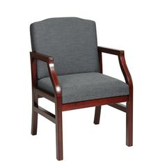 Office Star Mahogany Finish Modular Chair with Grey Fabric
