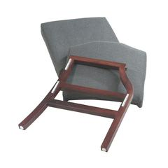 Mahogany Finish Modular Single Add-On Kit with Grey Fabric