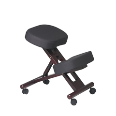 Office Star Ergonomically Designed Mahogany  Finished Wood Knee Chair Featuring Memory Foam and Dual Wheel Carpet Casters