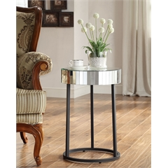 Krystal Round Mirror Accent Table with Metal Legs Fully Assembled