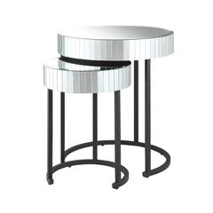 Krystal 2-piece Round Mirror Nesting Tables with Metal Legs Fully Assembled