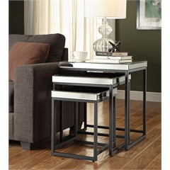 Office Star Krystal 3-piece Square Mirror Nesting Tables with Metal Legs Fully Assembled