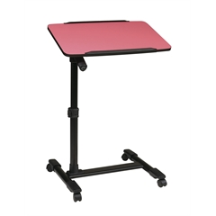 Office Star Mobile Laptop Cart with Adjustable Pink Top