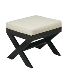 Office Star X-Leg Eco Leather Ottoman in Cream