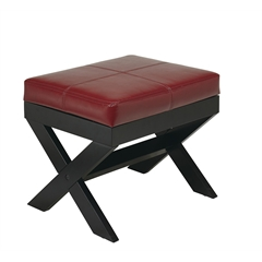 X-Leg Eco Leather Ottoman in Red