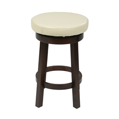 "Office Star 24"" Metro Round Barstool in Cream Faux Leather"