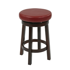 """Office Star 24"""" Metro Round Barstool in Red Faux Leather"""