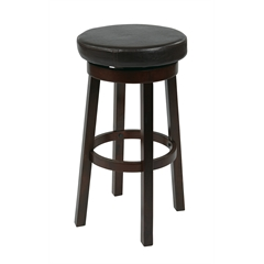 "Office Star 30"" Metro Round Barstool in Espresso Faux Leather"