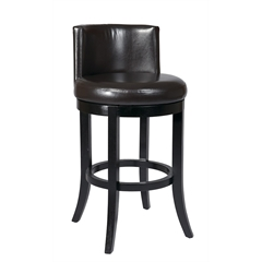 "Office Star 30"" Swivel Eco Leather Barstool in Espresso"