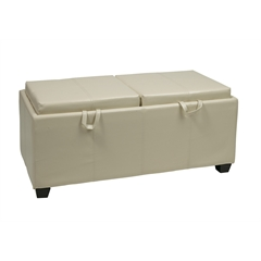 Office Star Storage Ottoman in Cream with Dual Trays & Seat Cushions