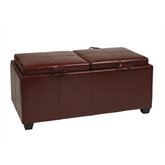 Office Star Storage Ottoman in Red with Dual Trays & Seat Cushions