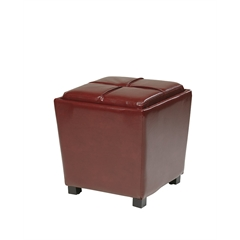 OSP Designs 2-Piece Red Eco Leather Ottoman Set