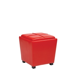 Office Star 2-Piece Red Vinyl Ottoman Set