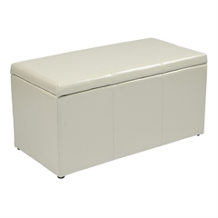 Office Star 3 Piece Cream Eco Leather Ottoman Set