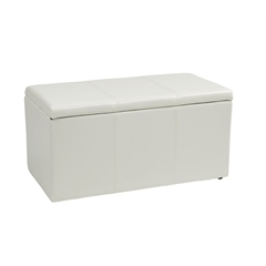 Office Star 3 Piece White Vinyl Ottoman Set