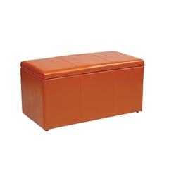 Office Star 3 Piece Orange Vinyl Ottoman Set
