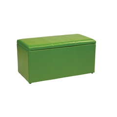 Office Star 3 Piece Green Vinyl Ottoman Set