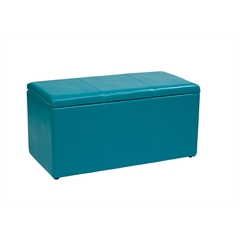 Office Star 3 Piece Blue Vinyl Ottoman Set