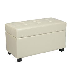 Office Star Cream Faux Leather Storage Ottoman