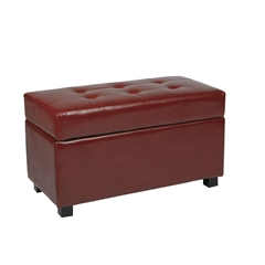 Office Star Crimson Red Faux Leather Storage Ottoman