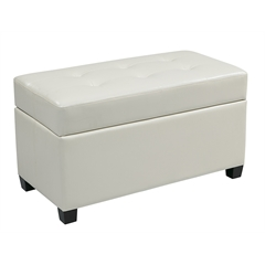 Office Star Vinyl Storage Ottoman in White