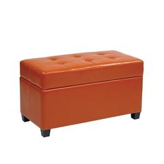 Office Star Vinyl Storage Ottoman in Orange