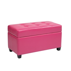 Vinyl Storage Ottoman in Pink
