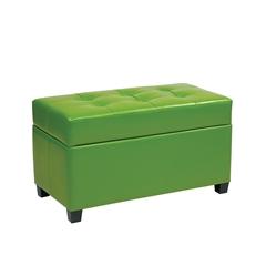 Vinyl Storage Ottoman in Green