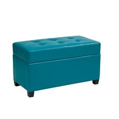 Office Star Vinyl Storage Ottoman in Blue