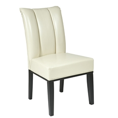 Cream Bonded Leather Parsons Chair