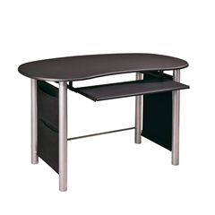 Saturn Multi-Media Black with Silver Accents Computer Desk