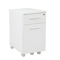 Office Star Prado Mobile File in White with Hidden Drawer and Castors