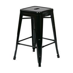 "24"" Steel Backless Barstool (4-Pack) (Black)"