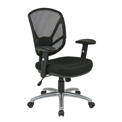 Office Star Screen Back 2-to-1 Synchro Tilt Chair with Aluminum Finish Base