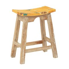 """24"""" Saddle Stool with White Wash Base and Rustic Yellow Seat"""