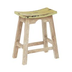 "24"" Saddle Stool with White Wash Base and Rustic Sage Seat"