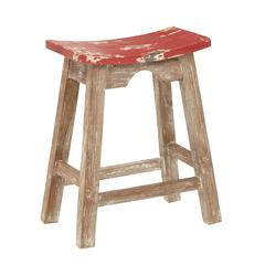 """24"""" Saddle Stool with White Wash Base and Rustic Red Seat"""