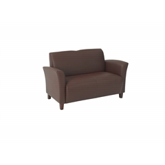 Office Star Wine Eco Leather Love Seat with Cherry Finish Legs. Rated for 500 lbs of distributed weight. Shipped Semi K/D.