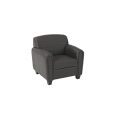 Office Star Pillar - Espresso Faux Leather Club Chair with Cherry Finish Legs. Shipped Assembled with Legs Unmounted. Rated for 300 lbs of distributed weight.